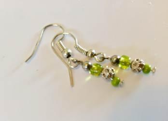 Earrings - Tiny citron lime & silver
