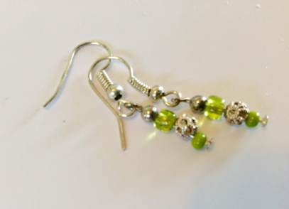 Earrings - Tiny citron lime & silver